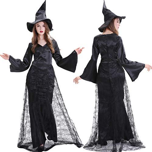 Xisimei Vestido de Halloween para mujer zombi, novia espeluznante, disfraz vintage medieval, misterioso, vestido gtico, carnaval, cosplay, Negro , XL