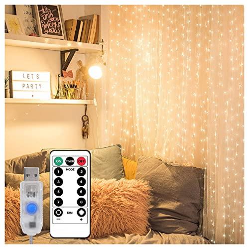 300 LEDs Cortina de Luces,3M * 3M Luces de Navidad Cortina,Luces de Hadas USB,con 8 Modos con Ganchos,Impermeable,para Decoración Iluminación Interior Fiesta Exterior Navidad (Blanco Cálido)