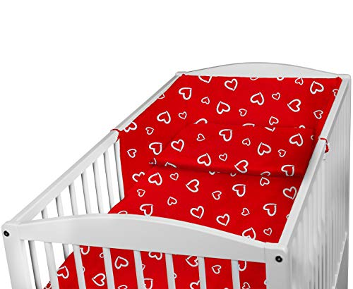 Baby Bedding Set 3PCS COT Bed Size Pillow Duvet Cover Bumper 140x70CM (White Hearts ON RED)