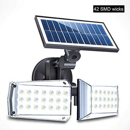 ZJING Solarlampen Für Außen Mit Bewegungsmelder 500LM Solar Sicherheitsleuchte, 6000K, IP65 wasserdichte, Einstellbare LED-Flutlichter Mit Zwei Köpfen Für Die Gartengarage Im Vorgarten,42led