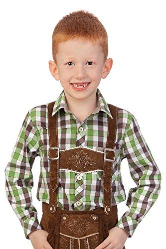 Spieth & Wensky Spieth & Wensky Trachten Kinderhemd - Ki-H050 - BALU - rot, Oliv, Größe 86/92