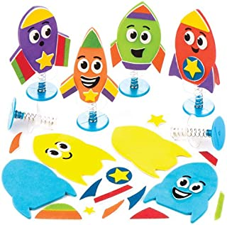 Baker Ross Ltd Rocket Jump-up Kits Fun-Packed Space Alien Toys at Pocket Money Prices - Perfect Party Bag Fillers for Children (Pack of 6)