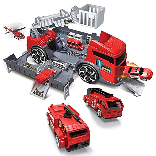 Fire Trucks Vehicle Cars Toy for 3 4 5 6 Years Old Toddlers Kids Boys and Girls, Garage Playset Vehicle for Birthday Gifts