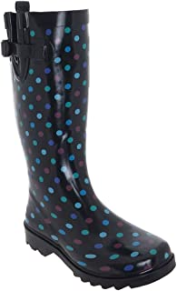 Simple Multi Dots Printed Ladies Tall Rubber Rain Boot