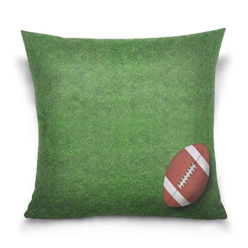 Lewiuzr Funda de cojín Fútbol Americano en Green Field Sport Cuadrada Decorativa Suave de poliésterfundas de cojín for Sofa Couch Bed Pillows Sofa Bedroom Car 45x45 cm