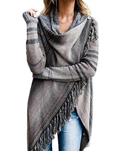 Style Dome Strickjacke Damen Gestreift Dünne Jacke Stricken Cardigan Offene Asymmetrischer Strickjacke Grau M