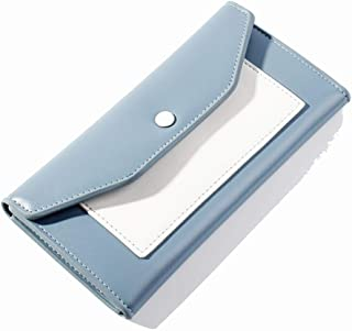 Pusaman Chromatic Clutch, Women's Retro Long Wallet (Color : Blue, Size : 18.7 * 2 * 9.5cm)