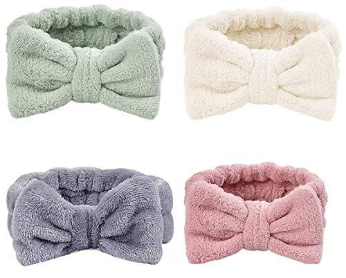 ZEEREE 4 Stück Spa Stirnband, Bowknot Haarbänder Soft Spa Haarband, Elastische Korallen Samt Gesicht Waschen Dusche Stirnband für kosmetische Gesichtsdusche
