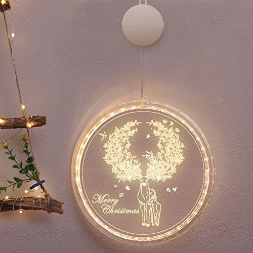 TOPofly Lichterketten, Elk Fenster-Licht mit Saugnapf Weihnachten LED-Lampe Weihnachten Hanging Licht Lichterketten Fee Weihnachtsverzierung für Hauptdekoration