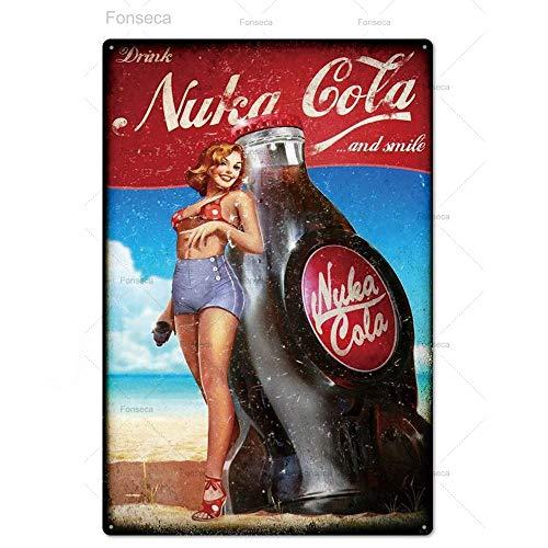 jknnw Nuka Cola Metallschild Vintage Blechschild Plakette Metall Vintage Pub Retro Wanddekoration für Bar Pub Club Mann Höhle Metall Poster (20 x 30 cm)