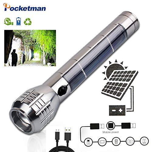 Solar Power LED Taschenlampe USB wiederaufladbare taktische Taschenlampe Eingebaute 4000mAh Batterie Tragbare Taschenlampe für Outdoor, Camping, Wandern