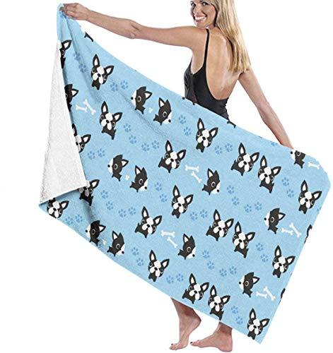 Toalla de Playa Bulldog francés Pata y Hueso de Perro Personalidad Piscina Toalla de baño de Gran tamaño 130x80 cm
