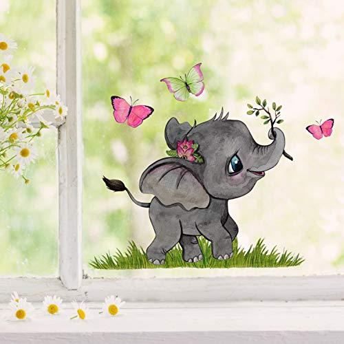 Fensterbilder Fensterbild kleiner Elefant mit Schmetterlinge wiederverwendbar Frühling Frühlingsdeko Fensterdeko bf47 - ausgewählte Farbe: *bunt* ausgewählte Größe: *1. Kleiner Elefant*