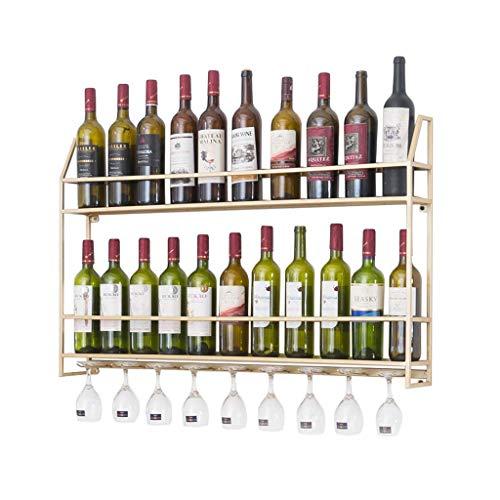 ZHXYY Organize Kitchen Estante para vinos de Pared Dorado/Negro |Porta Vino para 7 Botellas Estilo nórdico |Estantes para Copas de...
