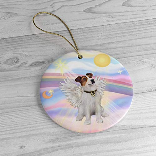 Lplpol Personalized Jack Russell Terrier Angel Rainbow Bridge Heirloom Ornament Ceramic Porcelain Xmas Tree Hanging Keepsake Pedemant, Ideals, BST1406