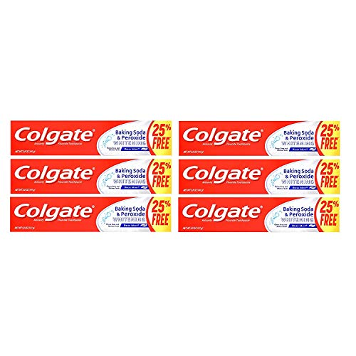 Colgate Anticavity Flouride Toothpaste with Baking Soda and Peroxide Whitening Brisk Mink 5.0 oz 6 PACK
