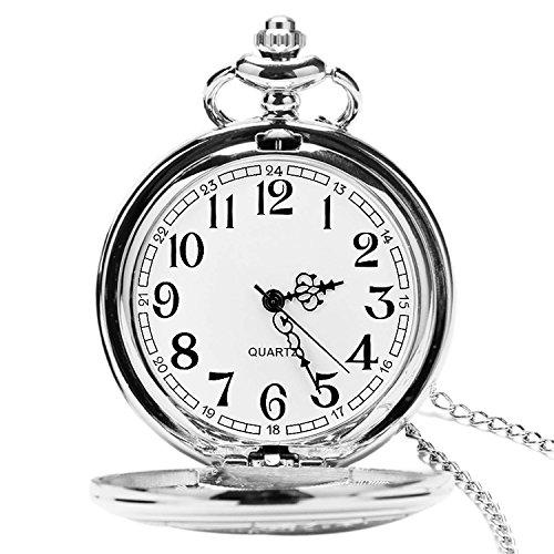 Reloj de Bolsillo para Hombre con Cadena, Colgante de Cuarzo Relojes d