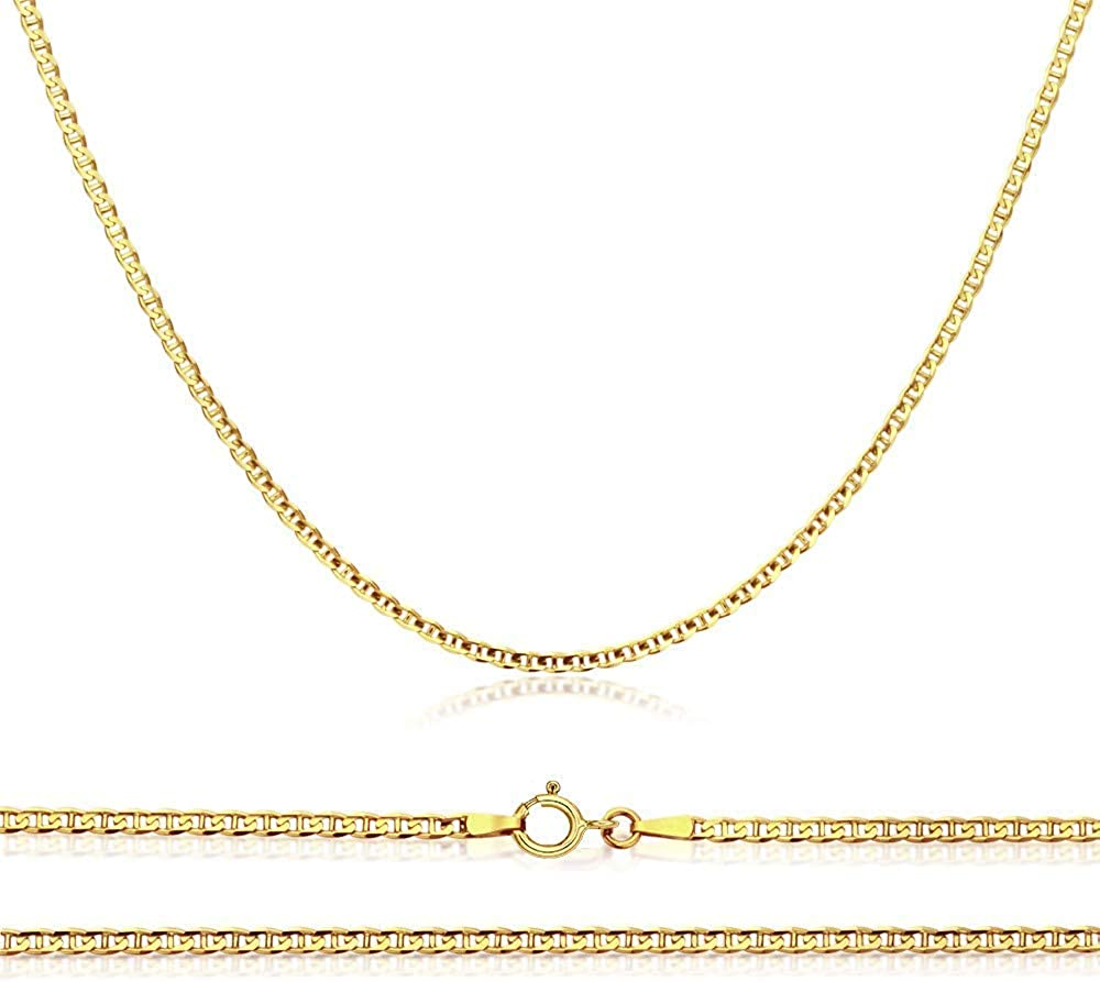 10K Gold Flat Las Max 51% OFF Vegas Mall Mariner 1.5MM Necklace Chain Marina Anchor Link