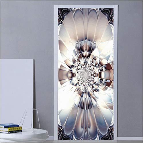 ZPCR Pegatina de Puerta de Flor de Arte Abstracto Moderno, murales de Puerta 3D, calcomanía de diseño para el hogar de Sala de Estar, Pegatinas de Puerta Autoadhesivas Impermeables de PVC