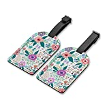 Travel Luggage Tags ID Label Leather Bag Tags Suitcase Set of 2 Baggage Tag Beautiful Colorful Flower Handbag Tag with Full Back Privacy Cover