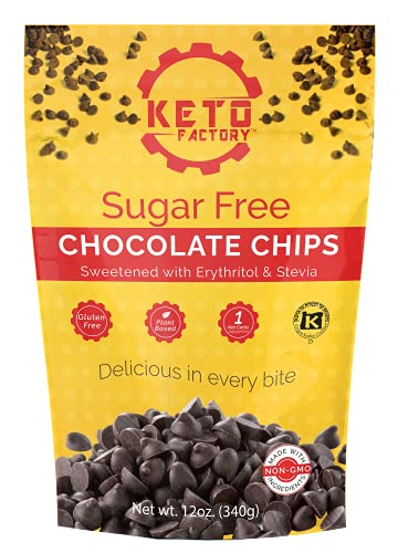 Keto Factory Chocolate Chips, 12 Oz | 100% Plant Based, Low Carb, Keto Friendly, High Fiber, Kosher, Stevia Sweetened, Non-GMO | Cooking & Baking Chips for Cakes, Cookies, Brownies, Muffins, Pancakes