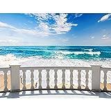 Papel tapiz fotográfico Playa terraza del mar 352 x 250 cm Lana Fondo De Pantalla XXL Moderna Decoración De Pared Sala Cuarto Oficina Salón azul beige 9028011a