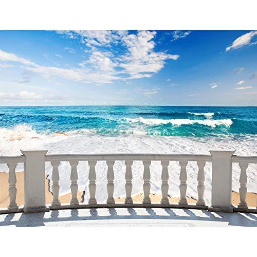 Fototapete Strand Meer Terasse 352 x 250 cm Vlies Tapeten Wandtapete XXL Moderne Wanddeko Wohnzimmer Schlafzimmer Büro Flur Blau Beige 9028011a