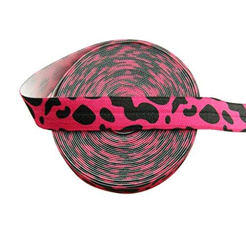 "DIY PARK 5 Yard 5/8"" Rose Leopard Animal Print Fold Over Elastic Spandex Satin Band Lace Trim Baby Headband Hair Tie Sewing Craft"