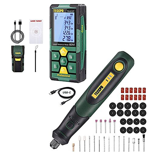 TECCPO Laser Distance Measure, Rechargeable, 196ft, Digital Laser Measurement Tool, 99 Sets Data Storage + 3.7V Cordless Rotary Tool kit, 3-Speed, 50 Accessories , USB-C charging, Multi-Purpose