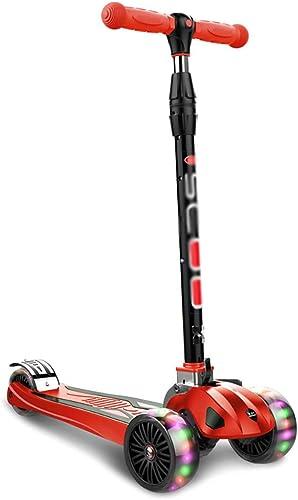marca WHTBOX Pedal Scooter para Niños, Antideslizante Plegable con,Ajustable con,Ajustable con,Ajustable T Bar,PU LED Grande Intermitente,3-12 años de Edad,rojo  buena calidad