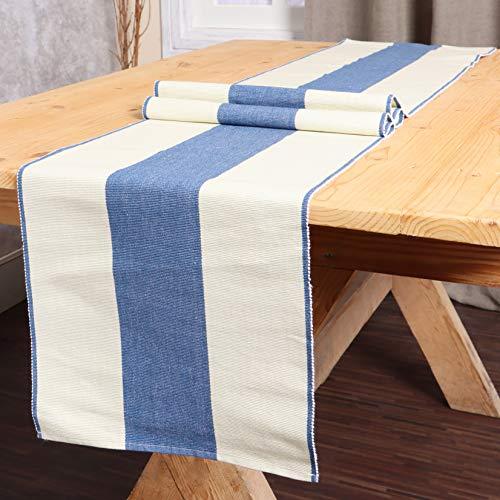 REDEARTH Tischläufer-garngefärbte gerippte gewebte Tischwäsche für quadratische, runde und rechteckige Esstische, Couchtische, Konsole, Kommode, 100% Baumwolle (14x72; Indigo)