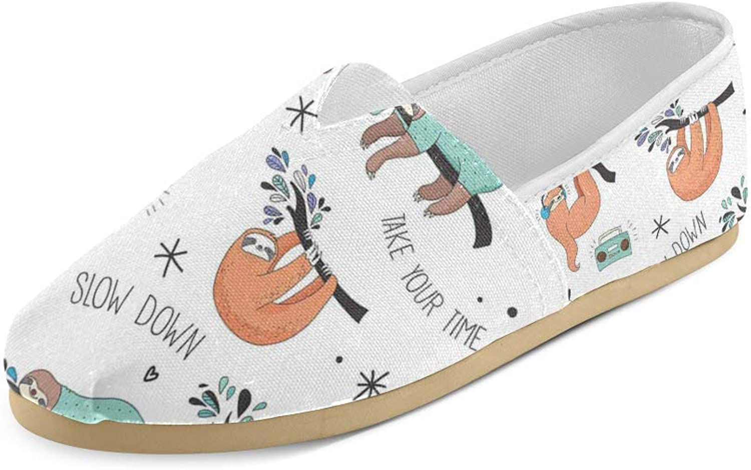 HUANGDAISY Unisex shoes Your Time Slow Down Sloth Casual Canvas Loafers for Bia Kids Girl Or Men