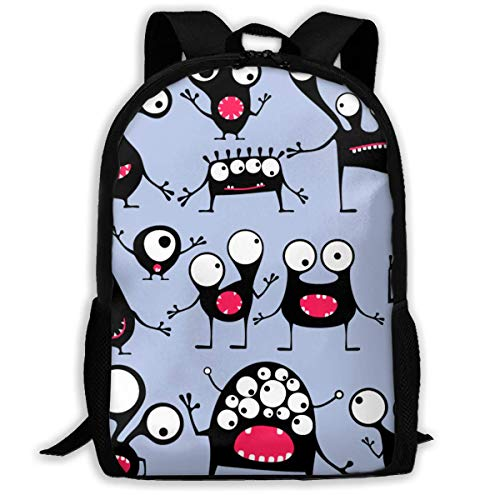 "Bacteria Make Cartoon Expression Viruses Printed School Backpack Water Resistant Travel Rucksack Bag Laptop Lightweight Backpack Daypack,17"" Mochila Escolar"