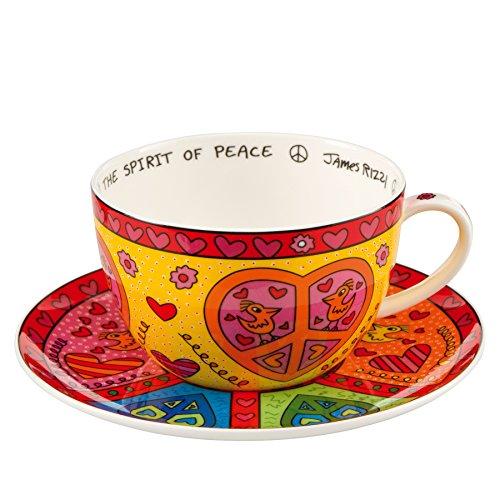 Goebel - The Spirit of Peace - Cappuccino Tasse mit Untertasse - James Rizzi - Bone China Porzellan 0,5 l