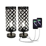 Pack of 2 Surpars House Crystal Table Lamp with Double USB Charging Port, On/Off Switch on Base,Bedside Lamp Nightstand Lamp,Black