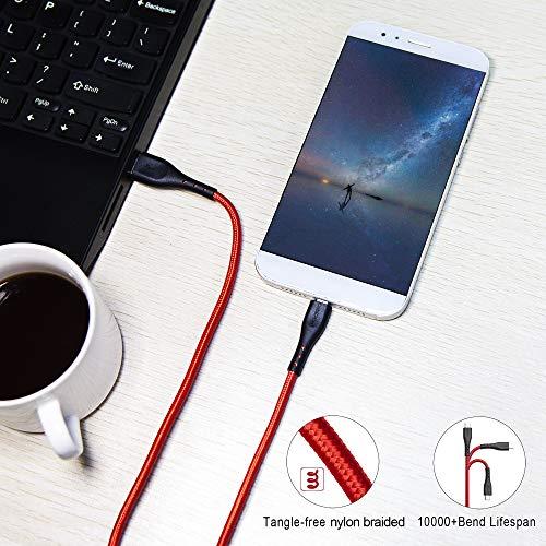 Micro USB Android Kabel 3M,CABEPOW 3Pack Micro USB Schnellladekabel auf USB 2.0 Nylon Geflochtenes High Speed Sync Ladekabel für Android, Smartphones, Samsung Galaxy Note, Huawei,Sony, Blackberry- Rot