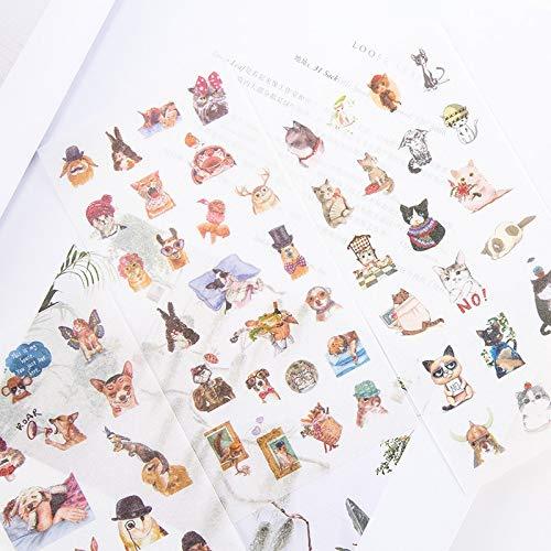 Preisvergleich Produktbild PMSMT 6 Blätter / Packung Cute Cats Family Adhesive Stickers Dekoratives Album Tagebuch Stick Label Hand Account Decor Briefpapier