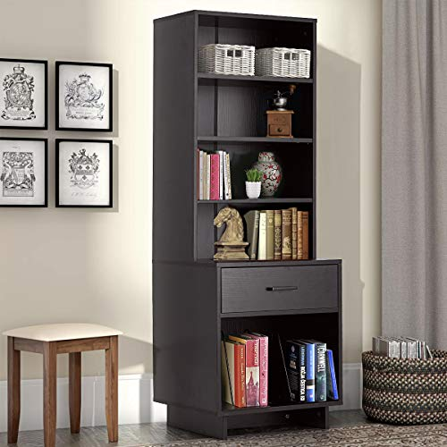 MELLCOM Wooden Bookcase Storage Cabinet Bookshelf with 1 Drawer and 3 Shelves, Modern Standing Shelf, Side Corner Storage Cabinet Decor Furniture for Home Office Walnut