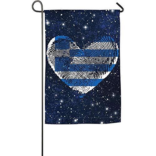 AllenPrint Yard Flag,Griechenland Griechische Flagge Fingerabdruck Herz Saisonale Flagge Im Freien, Polyester Yard Flags Für Garden Yard,32x45.7cm