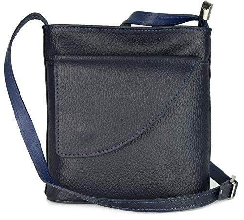 Belli ital. Ledertasche Damen Umhängetasche Handtasche Schultertasche mit zusätzlichem Klappfach in dunkelblau - 18,5x18,5x7 cm (B x H x T)