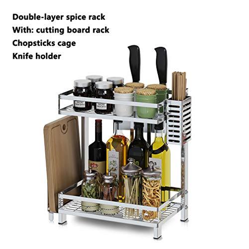 CNMGB Porta Utensili da Cucina Rack di stoccaggio per Utensili da Cucina in Acciaio Inossidabile 304 a Doppio/Tre Strati