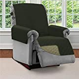 SOFA SHIELD Original Patent Pending Reversible Large Recliner Protector, Seat Width to 28 Inch, Furniture Slipcover, 2 Inch Strap, Chair Slip Cover Throw for Pets, Recliner, Hunter Green Sage