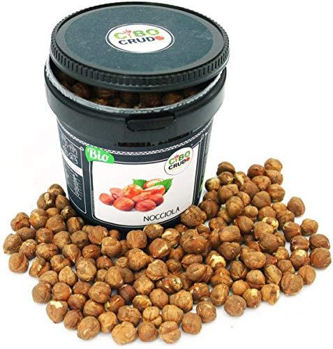 CiboCrudo Nocciole Sgusciate Biologiche Crude, Raw Organic - 500gr - Prodotto in Italia, Migliore Nocciola al Mondo, Calibro 15, Intere Senza Guscio, Etichette in Italiano