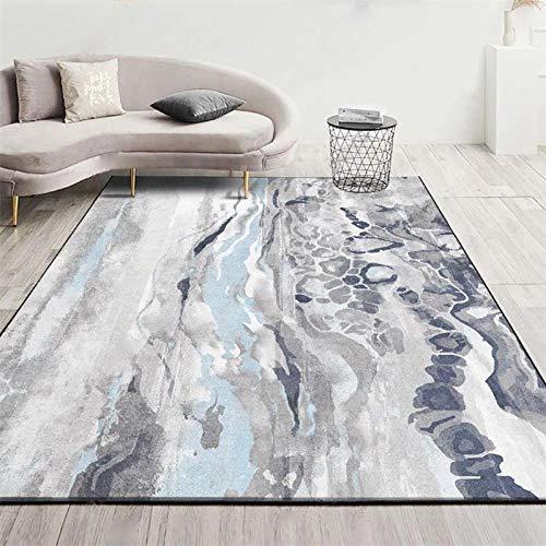 Alfombras diseño Moderno Alfombras hogar Agua de mar Abstracto Gris Azul para La Sala De Estar Dormitorio Pasillo Antideslizantes Alfombras 140×200CM (4ft7 x 6ft6)