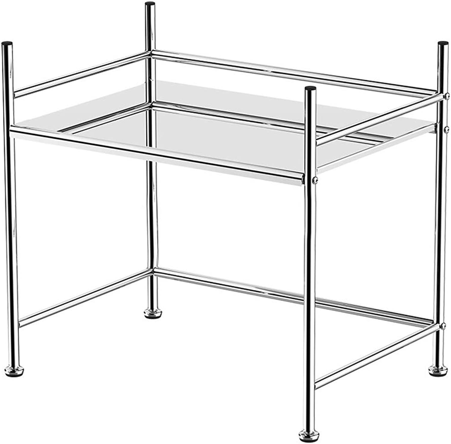 Kitchen Shelf Microwave Shelf 1 Layer Partition Unit Carbon Steel Material Large Capacity Storage Rack Floor Type 23.2  14.5  19.6 Inches