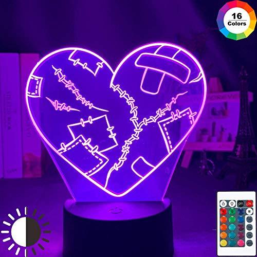 Lámpara de ilusión 3D Luz de noche Led Corazón roto 7 colores que cambian para niñas Decoración de habitación Regalo para amigo Lámpara de escritorio Batería