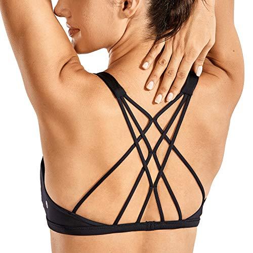 CRZ YOGA Damen Doppelter Kreuz-Träger ohne Bügel abnehmbare Bra-Einlage Yoga Sport BH Schwarz M