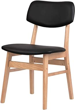 Artiss 2 x Dining Chairs, Wooden Leather Upholstered Dining Chairs, Black