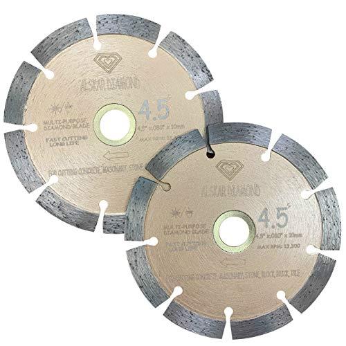 (2 PACK) ALSKAR DIAMOND USA ADLSS 4-1/2 inch Dry or Wet Cutting General Purpose Power Saw Segmented Diamond Blades for Concrete Stone Brick Masonry (4 1/2' - 2 pcs)