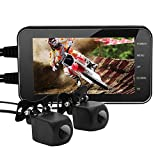"""Waterproof Motorcycle Dash Cam,Motorcycle Driving Recorder HD 1080P 3.0"""" LCD Screen 140° Wide Angle Dual Camera Motorbike DVR Dash Cam, Day & Night Vision Monitor Motion Detection for Outdoor Driving"""